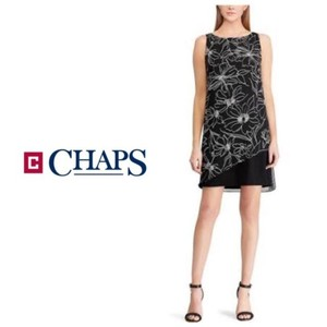 Chaps Sheath Overlay Georgette Evening Sleeveless Dress
