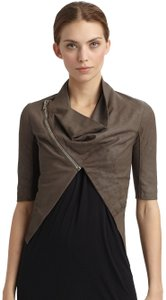 Rick Owens Cropped Draped Dust Sale Brown Leather Jacket