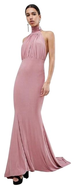 Item - Blush Bridesmaid Halterneck High Neck Fishtail Maxi Long Night Out Dress Size 10 (M)