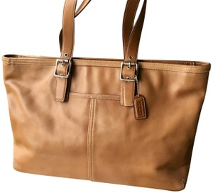 Coach Large Burnished Leather Gently Carried Top Zipper Tote in Camel Butterscotch