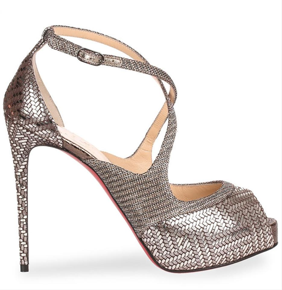 bdf316afb9a7 Christian Louboutin Made In Italy Luxury Designer Peep Toe Red Sole Glitter  Metallic Silver Sandals Image. 123456789101112