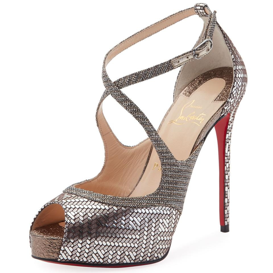 a6b57a5a0ea Christian Louboutin Silver Mira Bella 120 Glitter Metallic Leather Peep Toe  Red Sole Platform Sandals