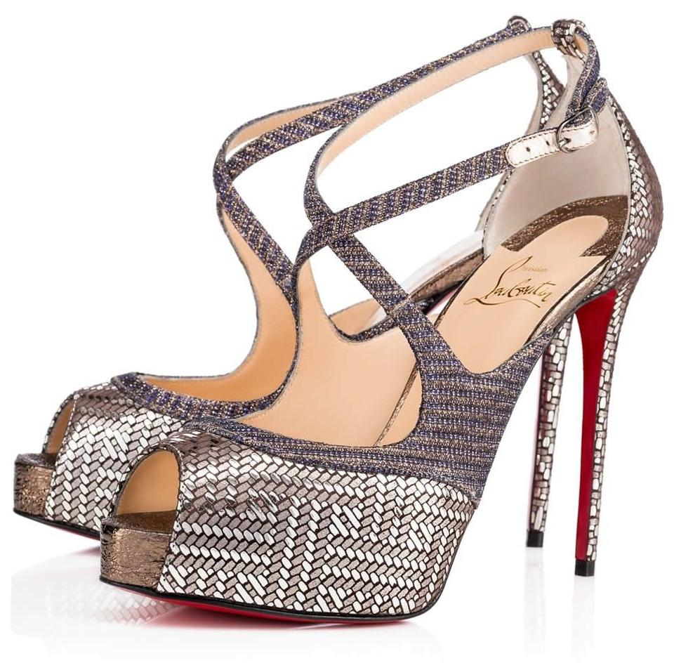 c18c4b6b14c Christian Louboutin Made In Italy Luxury Designer Peep Toe Red Sole Glitter  Metallic Silver Sandals Image. 123456789101112