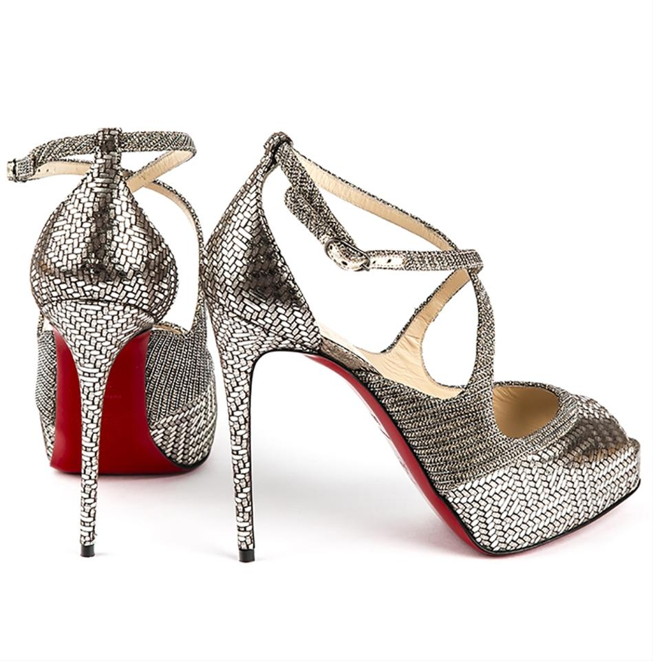 2eba7c8150d3 Christian Louboutin Silver Mira Bella 120 Glitter Metallic Leather ...