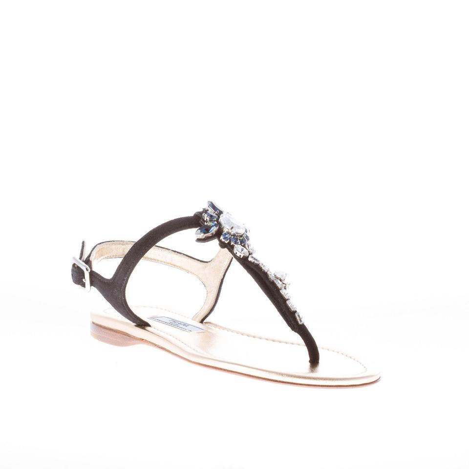 f72369093 Prada Black Suede Thong Flat with Swarovski Crystals Sandals Size EU ...