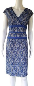 Simply Liliana Lace Sheath Metallic Ribbon Dress