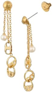Tory Burch new Tory Burch pearl logo earrings