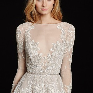 Hayley Paige Blush Gown Traditional Wedding Dress Size 12 (L)
