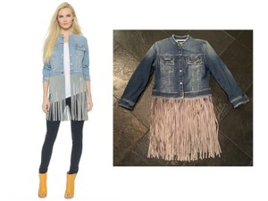 THEPERFEXT Molly Molly Leather Fringe Grey Leather Fringe Fringe Jean Womens Jean Jacket
