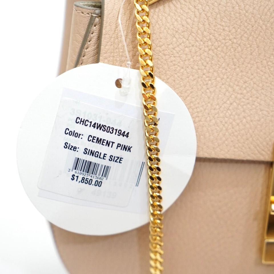36090571 Chloé Drew Chain Saddle Cement Pink Leather Cross Body Bag 27% off retail
