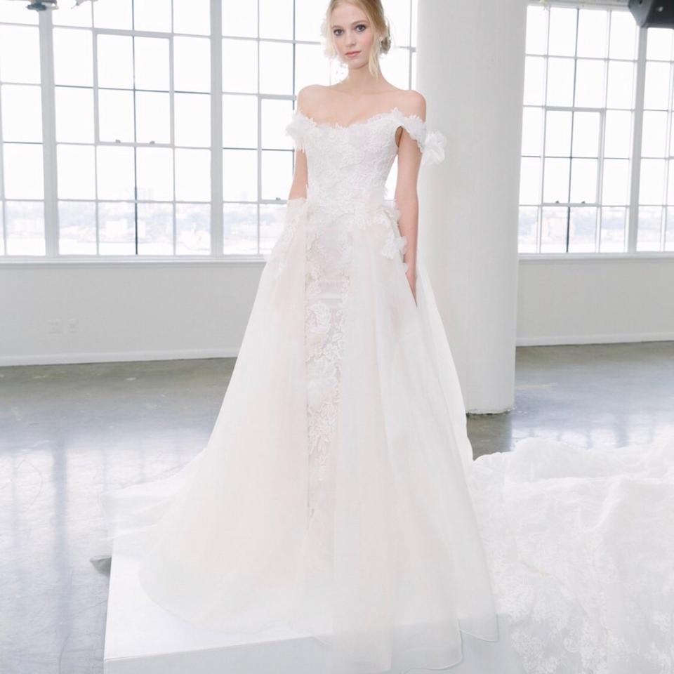Embroidered Wedding Dress.Marchesa Bridal White Embroidered Lace Tulle Rosettes Silk Organza Scarlett Retro Wedding Dress Size 6 S 83 Off Retail