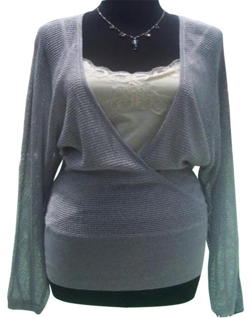 Item - Knit Metallic Peek A Boo Faux Wrap New Banded Bottom 4/6 S Silver Sweater