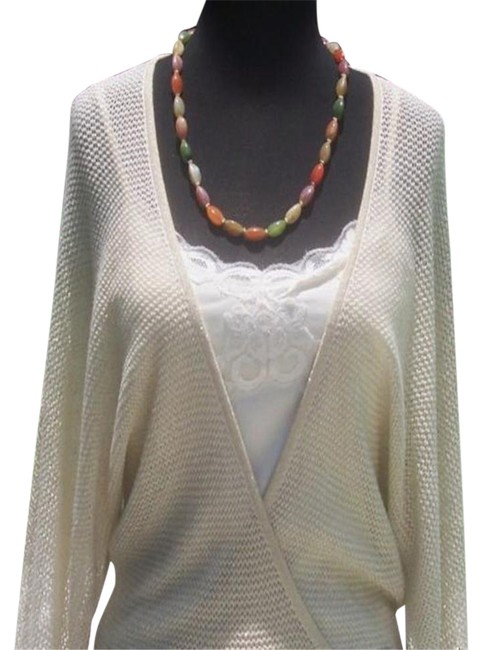 Item - Knit Metallic Peek A Boo Faux Wrap New Banded Bottom 8/10 M Gold Sweater
