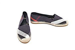 Burberry Check Espadrille Navy Red White Flats