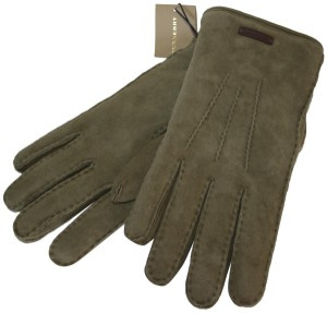 Burberry NWT BURBERRY SHEARLING LINED SUEDE LEATHER GLOVES SZ 8