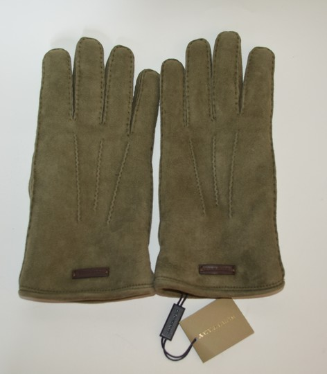 Burberry NWT BURBERRY SHEARLING LINED SUEDE LEATHER GLOVES SZ 8 Image 1