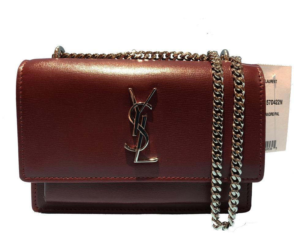 5fe0536cc429 Saint Laurent Chain Wallet Sunset Monogram Ysl Calf Small Burgundy  (Palissandre) Calfskin Leather Cross Body Bag