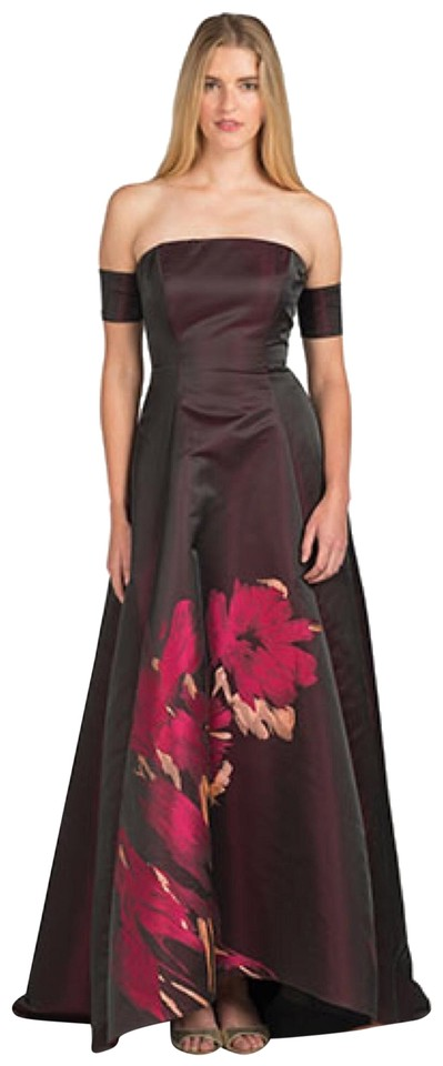 2bd0efc04a98 Badgley Mischka Black Purple Print. Off Shoulder Placement Evening Formal  Dress