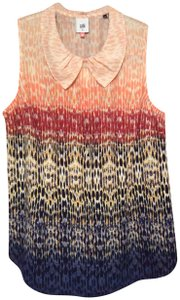 CAbi Multi-colored Top Ombre design, dusty pink, peach, burgundy, black, gold, grey lilac and purple.
