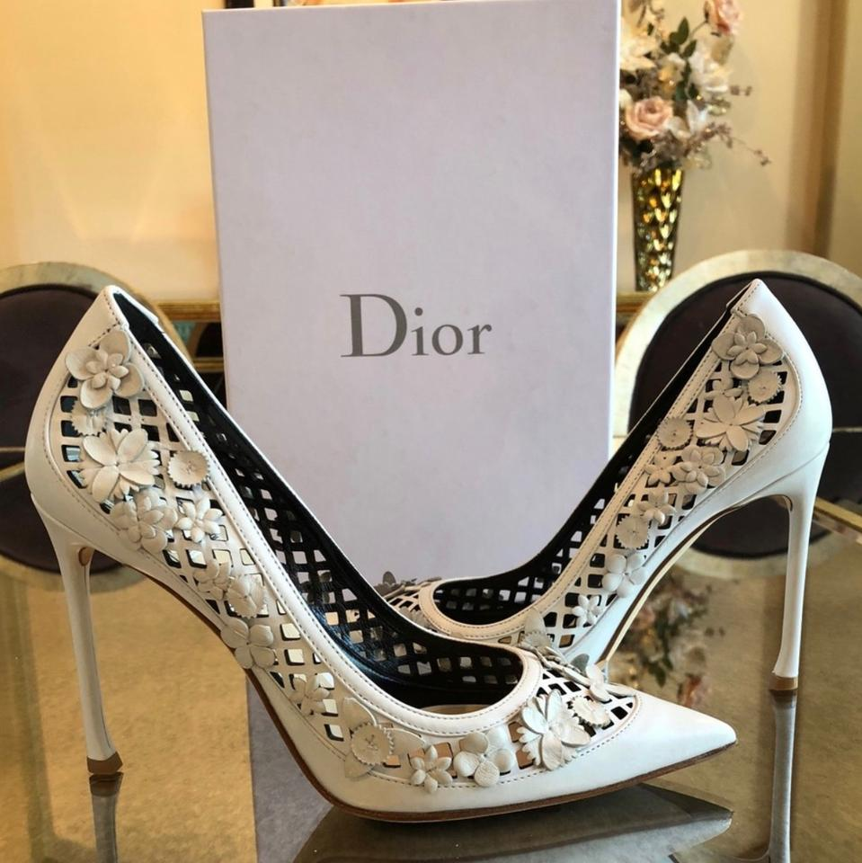 659a9110b98 Dior White Christian Flore Laser Cut Pumps Size EU 38.5 (Approx. US 8.5)  Regular (M