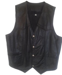 Camel Branded Garments Men's Leather 4 Front Snaps Front Slit Pockets Vintage Vest