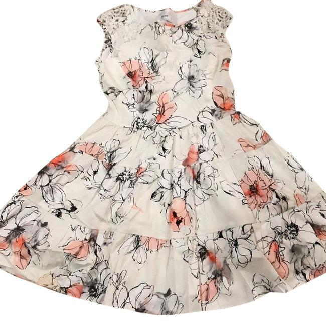 Item - White Ruffle Floral Printed Short Casual Dress Size 6 (S)