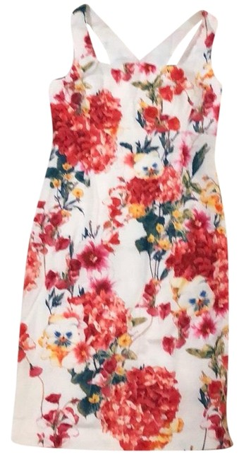 Item - White Floral Printed Pencil Mid-length Cocktail Dress Size 12 (L)