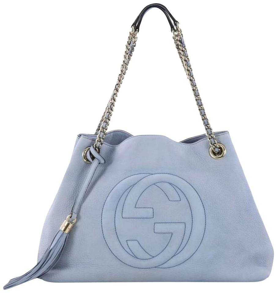 bbdb035e0 Gucci Soho Fringe Tassel Chain Tote 869083 Light Blue Leather Shoulder Bag