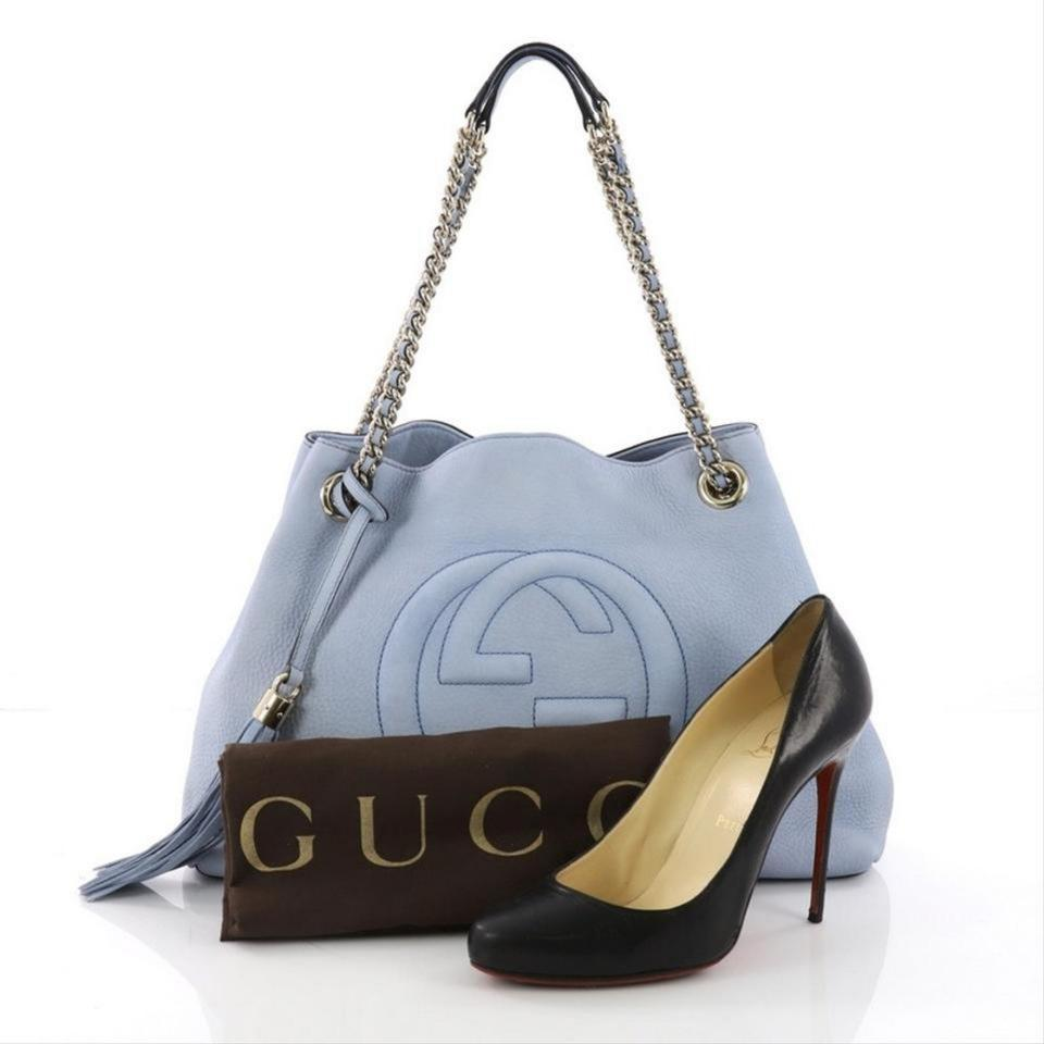 cde0c44951e1 Gucci Soho Fringe Tassel Chain Tote 869083 Light Blue Leather Shoulder Bag