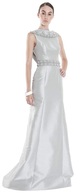 Theia Silver - 881879 Beaded Cowl Collar Evening Gown Long Formal Dress Size 6 (S) Theia Silver - 881879 Beaded Cowl Collar Evening Gown Long Formal Dress Size 6 (S) Image 1