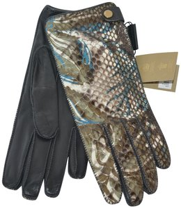 Burberry NWT BURBERRY PYTHON LEATHER FLORAL PRINT GLOVES SZ 7.5 MADE IN ITALY