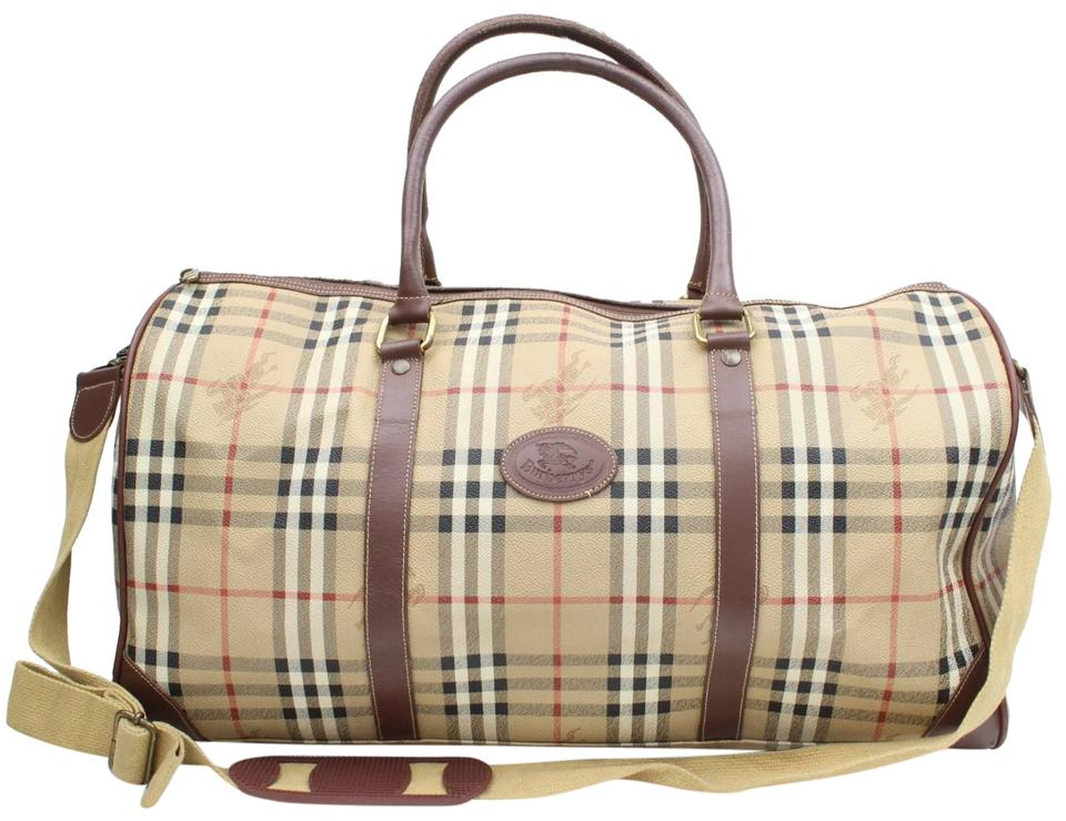 ef7caafd5dd8 Burberry Nova Check Boston Duffle with Strap 869091 Beige Coated ...
