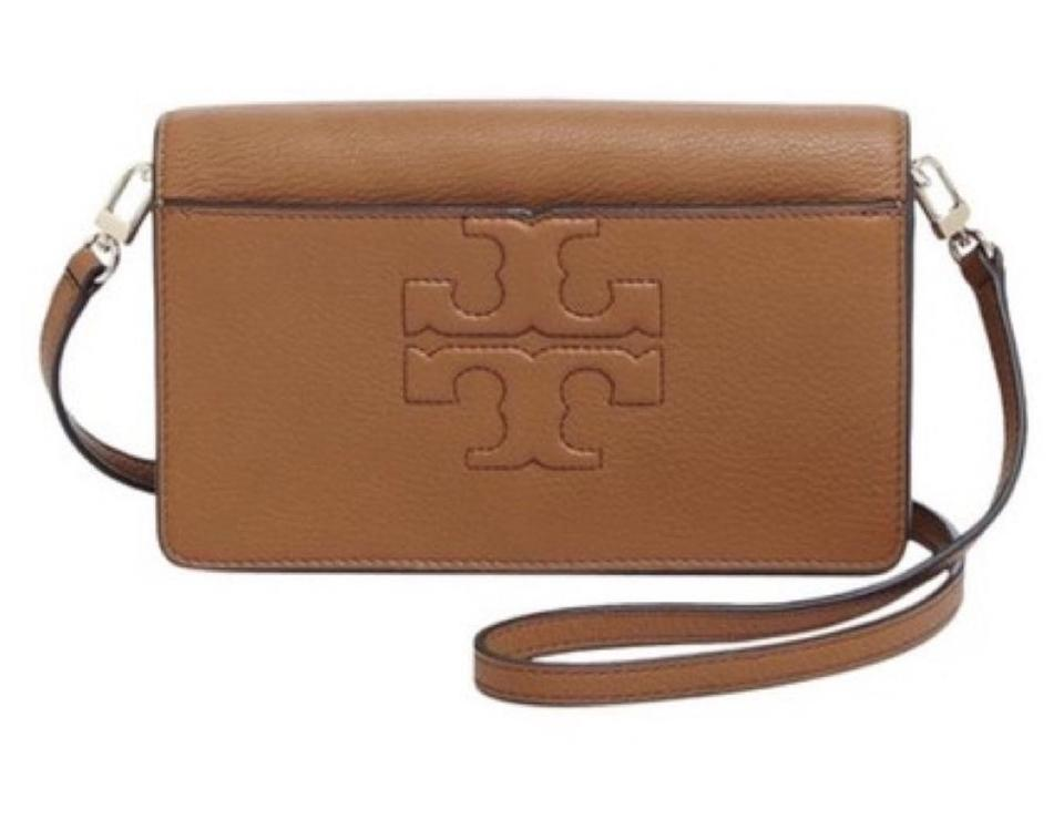 37f8359e1727 Tory Burch Bombe T Small Brown Leather Cross Body Bag - Tradesy