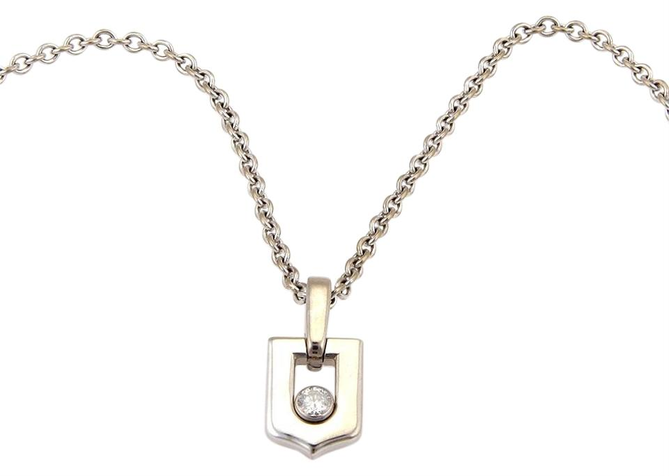 ce128370889a Cartier 13569  Diamond 18k White Gold C Logo Pendant Necklace - Tradesy