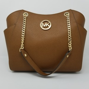 82fe44c93acf Michael Kors Jet Set Travel Chain Shoulder Acorn Brown Saffiano Leather Tote