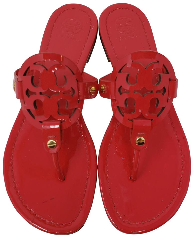 054ee4614865 Tory Burch Miller Reva Logo Gold Hardware Patent Leather Red Sandals Image  0 ...