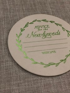 BHLDN Cream and Gold Foil Advice For The Newlyweds Green Print Coasters Reception Decoration