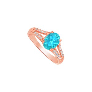 DesignByVeronica Blue Topaz and CZ Split Shank Ring in 14K Rose Gold