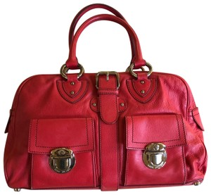Marc Jacobs Buckle Silver Hardware Leather Satchel in Red