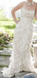 Lazaro Shades Of White Shades Of Ivory Shades Of Silver 3059 Vintage Wedding Dress Size 4 (S)