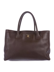 Chanel Cerf Calfskin Shopping Tote in Brown