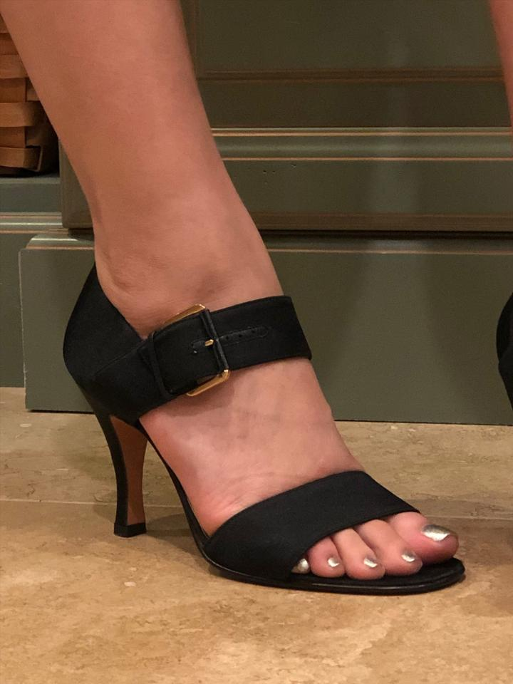 2c8562428d03 Salvatore Ferragamo Black Strappy Sandals Flats Size US 7 Regular (M ...