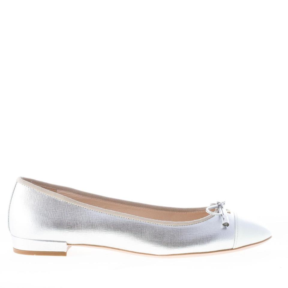 c60168f8fed Prada Silver Leather with White Detail At Toe and Bow Flats Size EU ...
