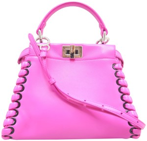 Fendi Whipstitch Mini Peekaboo Satchel in fuchsia