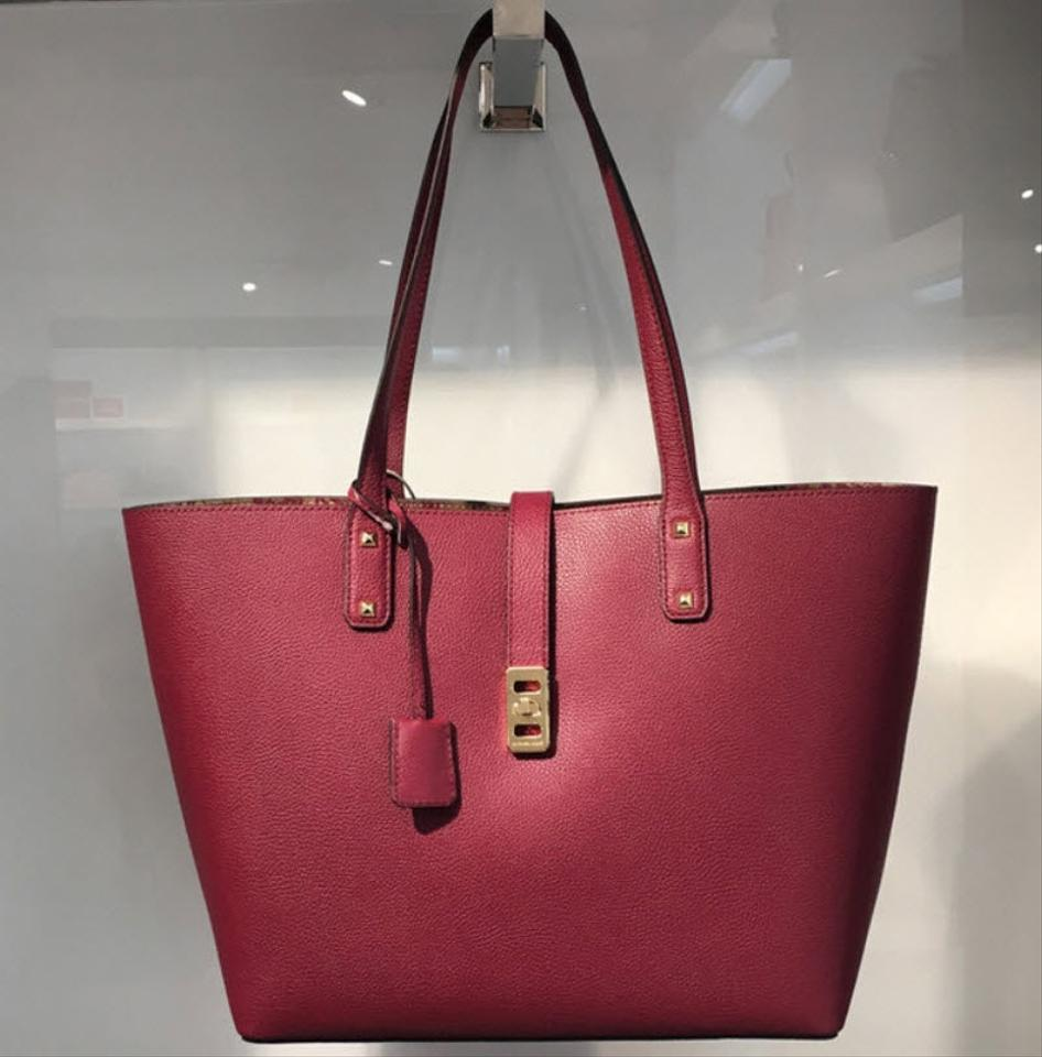 560a1d2c4b Michael Kors Karson Large Carryall Mulberry Red Leather Tote - Tradesy