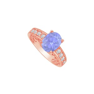 DesignByVeronica Newest Tanzanite and CZ Rose Gold Engagement Ring