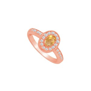 DesignByVeronica Perfect Gift Citrine and CZ Halo Ring in 14K Rose Gold