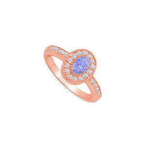 DesignByVeronica Beautiful Tanzanite and CZ Halo Ring in 14K Rose Gold
