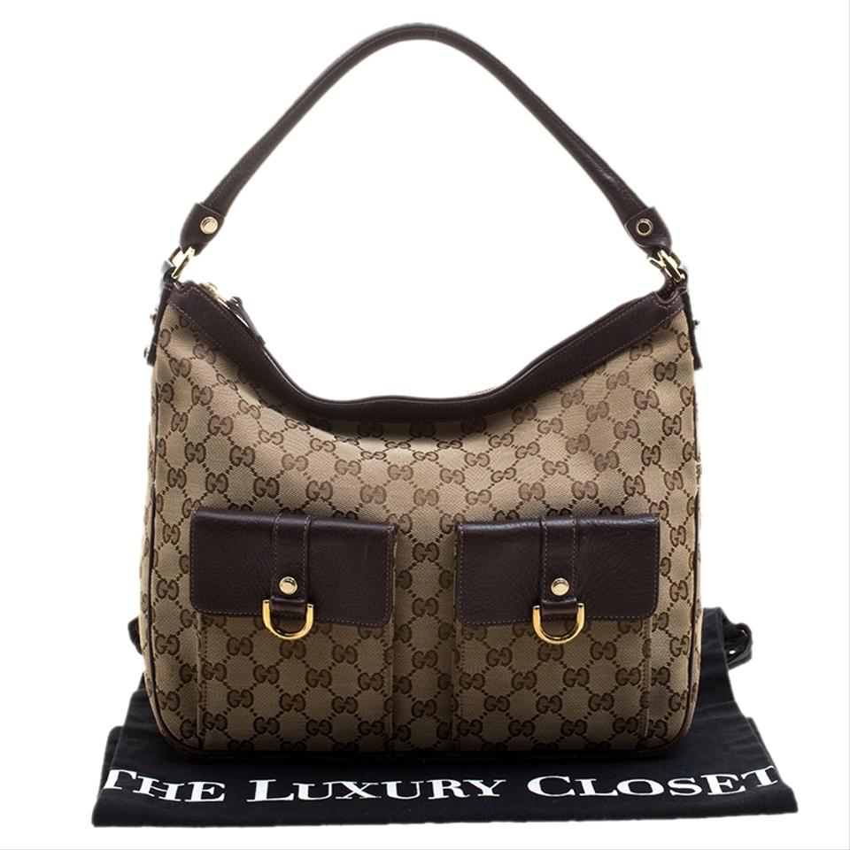65e28a22fffd Gucci Abbey Beige Ebony Gg Medium Pocket Beige Leather Canvas and Fabric Hobo  Bag