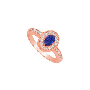 DesignByVeronica Graceful Sapphire and CZ Halo Ring in 14K Rose Gold
